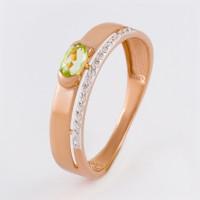 Золотое кольцо с хризолитами и фианитами ЮПК1348170хр