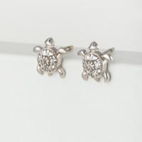 Серебряные серьги гвоздики с фианитами 4МС412
