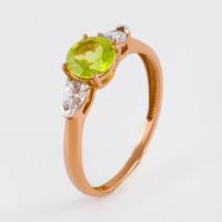 Золотое кольцо с хризолитами и фианитами ЮПК1346050хр