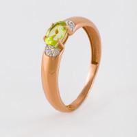 Золотое кольцо с хризолитами и фианитами ЮПК1348168хр