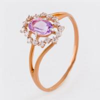Золотое кольцо с аметистами и фианитами ЮПК1341207ам