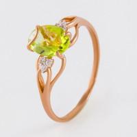 Золотое кольцо с хризолитами и фианитами ЮПК1341061хр
