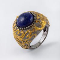 Серебряное кольцо с лазуритами и бриллиантами