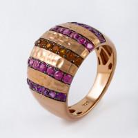Серебряное кольцо с родолитами, аметистами и цитринами