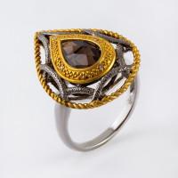 Серебряное кольцо с кварцем и бриллиантами