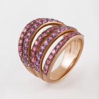 Серебряное кольцо с аметистами и родолитами