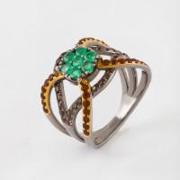 Серебряное кольцо с изумрудами, цитринами и кварцем