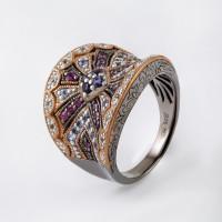 Серебряное кольцо с иолитами, родолитами, танзанитами и топазами СЙБУЗР280