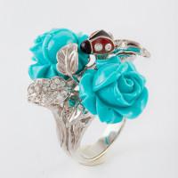 Серебряное кольцо с бирюзой и эмалью СЙРГА001-4
