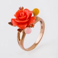 Серебряное кольцо с кораллами и эмалью СЙРГА108-3
