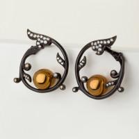 Серебряные серьги гвоздики с фианитами