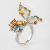 Серебряное кольцо с фианитами и перламутрами