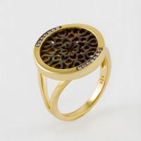 Серебряное кольцо с фианитами, перламутрами и эмалью