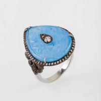 Серебряное кольцо с кварцем и топазами