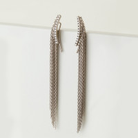 Серебряные серьги протяжки с фианитами женские