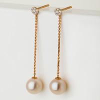 Золотые серьги гвоздики с бриллиантами и жемчугом
