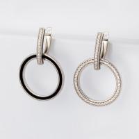 Серебряные серьги подвесные с фианитами и эмалью