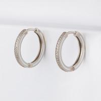 Серебряные серьги конго с фианитами и эмалью