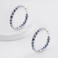 Серебряные серьги конго с кристаллами swarovski
