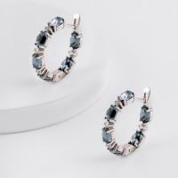 Серебряные серьги конго с кристаллами swarovski и фианитами