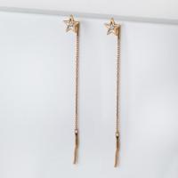 Золотые серьги протяжки с бриллиантами