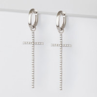 Серебряные серьги подвесные с фианитами