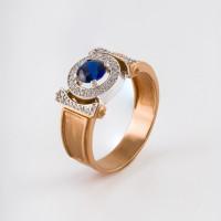 Золотое кольцо с шпинелью и фианитами