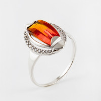 Серебряное кольцо с цитринами и фианитами