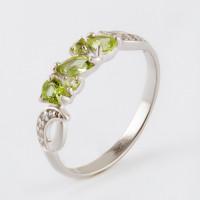 Серебряное кольцо с хризолитами и фианитами