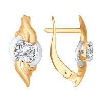 Золотые серьги с фианитами ДИ027370