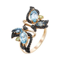Золотое кольцо с топазами, хризолитами и фианитами ЮИК124-4428М1