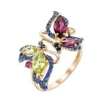 Золотое кольцо с родолитами, хризолитами и фианитами ЮИК124-4428М6