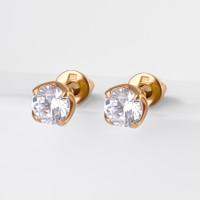 Золотые серьги гвоздики с фианитами РЫ2762741