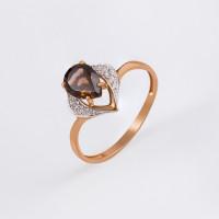 Золотое кольцо с раухтопазами и фианитами ЮПК1348187тр