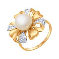 Золотое кольцо с жемчугом и фианитами ДИ791042