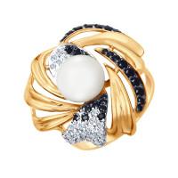 Золотое кольцо с жемчугом и фианитами ДИ791043