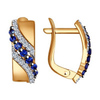 Золотые серьги с фианитами ДИ027422