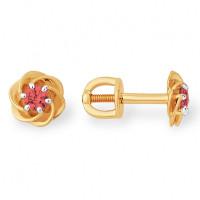 Золотые серьги гвоздики с рубинами гидротермальными ЮПС1348279рб