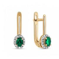Золотые серьги с бриллиантами и изумрудами ЛФЕ01-Д-33836-ЕМк