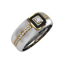 Кольцо из белого золота обручальное с бриллиантами и эмалью КАКО-ОКБ244Гм15