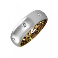 Золотое кольцо обручальное с бриллиантами КАКО-ОКБ242Гм15