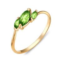 Золотое кольцо с хризолитами ЮИК120-1883хр
