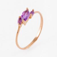 Золотое кольцо с аметистами ЮИК120-1883ам