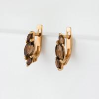 Золотые серьги с раухтопазами ЮИС120-1883тр