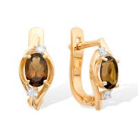 Золотые серьги с раухтопазами и фианитами ЮИС122-1520тр