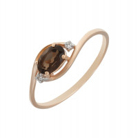 Золотое кольцо с раухтопазами и фианитами ЮИК122-1520тр