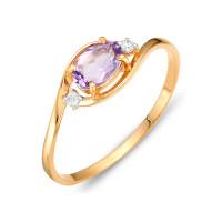 Золотое кольцо с аметистами и фианитами ЮИК122-1520ам