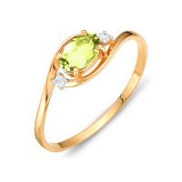 Золотое кольцо с хризолитами и фианитами ЮИК122-1520хр