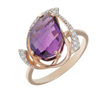 Золотое кольцо с кварцем и фианитами КСК14-10028