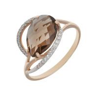 Золотое кольцо с кварцем и фианитами КСК13-10031